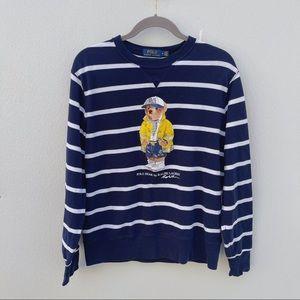 Polo Bear sweater Ralph Lauren medium blue white